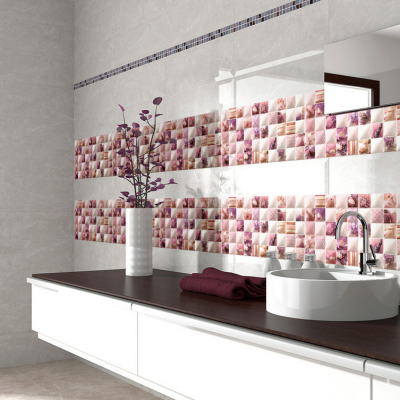 Bathroom tiles coloured 3D view