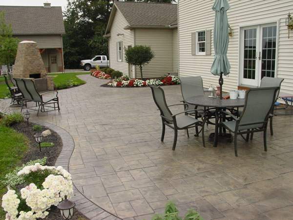 patio ideas stamped concrete