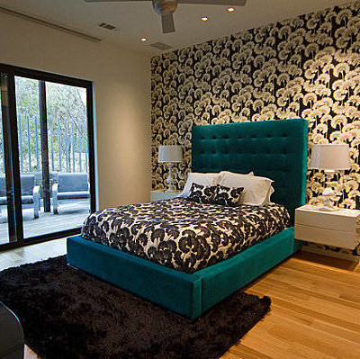 Teal and Green Bedroom design  Ideas