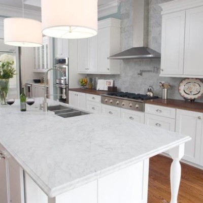 White Kitchen with Granite Countertops
