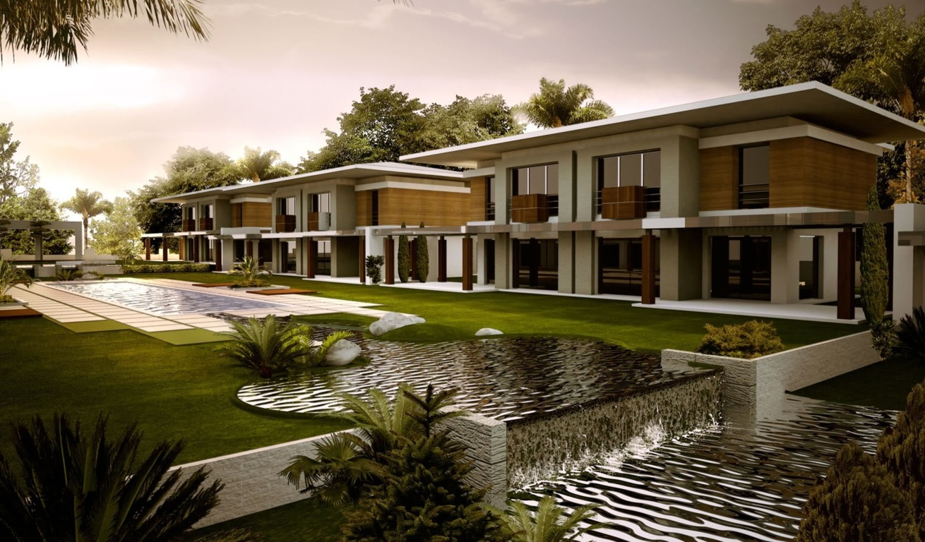 modern landscaping with waterpool