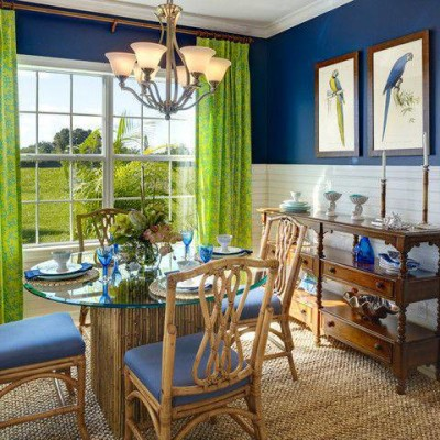 Blue and Green Dining Room