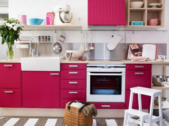 Red kitchen theme ideas for kitchen 39 s modern look actual for Kitchen decoration pink