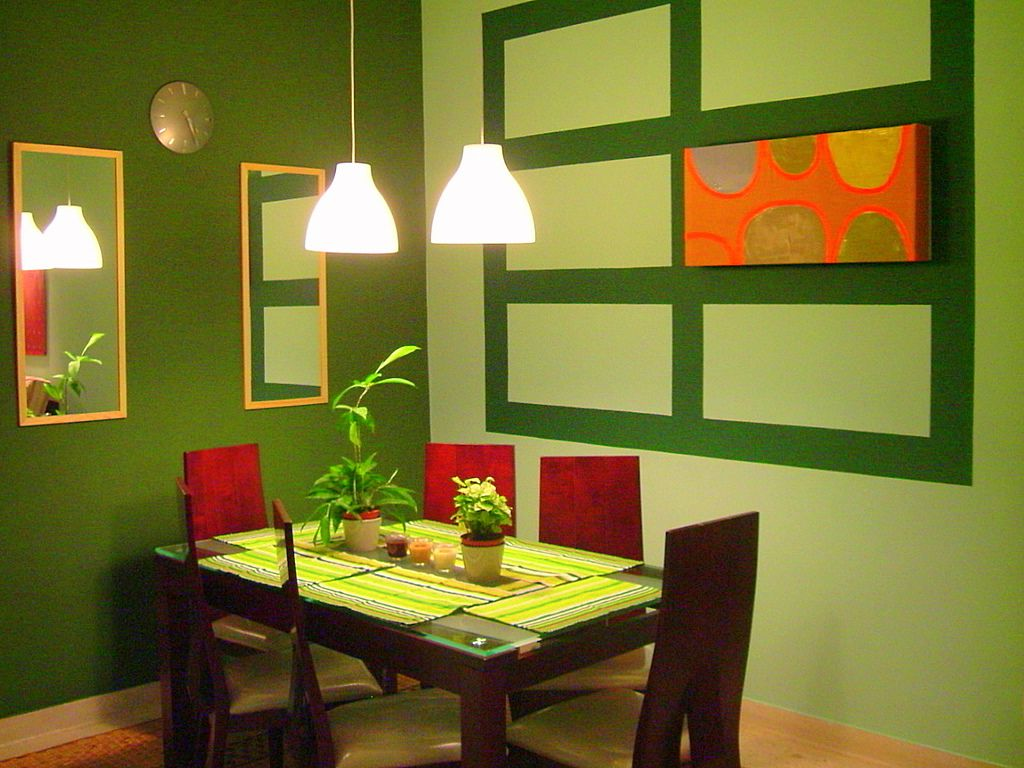 fancy green dining room colors