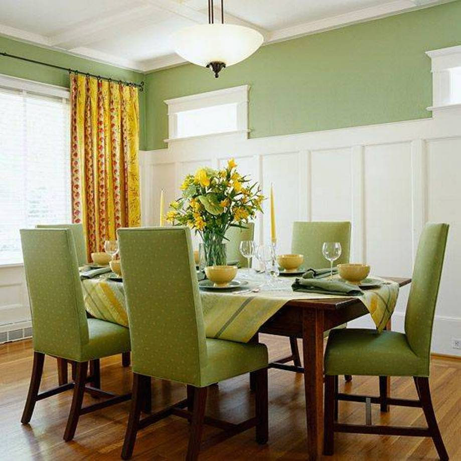 Green dining room colors accent actual home actual home Dining room color ideas for a small dining room