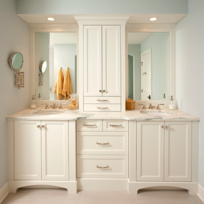 Interesting-Storage-Cabinet-and-White-Vanity-Design-at-Traditional-Bathroom-with-white-Marble-Countertop-also-Twin-Mirror